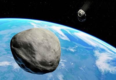 Asteroids Approaching Earth Print by Detlev Van Ravenswaay