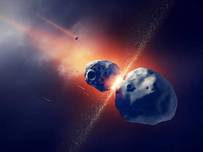 Asteroids Collide And Explode  In Space Print by Johan Swanepoel