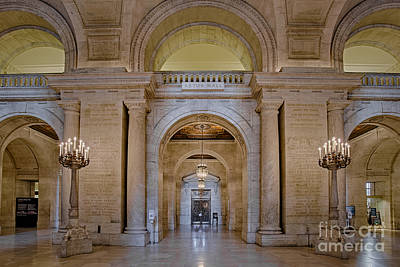 Astor Hall At The New York Public Library Print by Susan Candelario