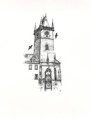 Astronomical Art Drawing - Astrolgical Clock Tower Prague by Margaryta Yermolayeva