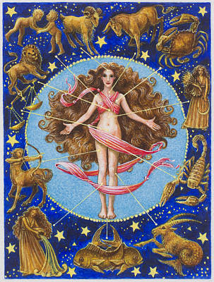 Virgo Painting - Astrological Body  by Lynn Bywaters