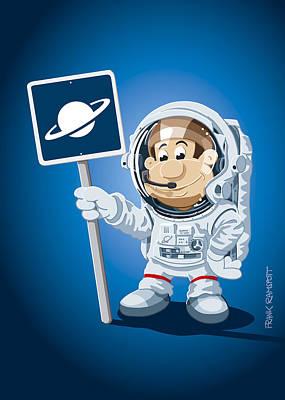 Astronaut Cartoon Man Print by Frank Ramspott