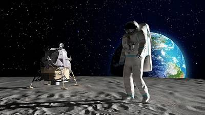 Space Photograph - Astronaut On The Moon by Andrzej Wojcicki