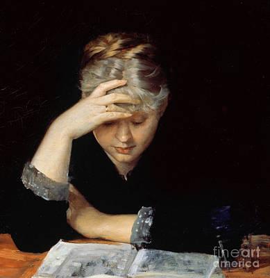 Literature Painting - At A Book by Maria Konstantinova Bashkirtseva