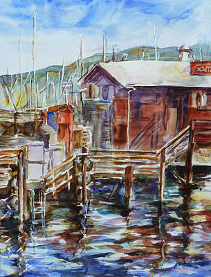 Docking Painting - At Monterey Wharf Ca by Xueling Zou