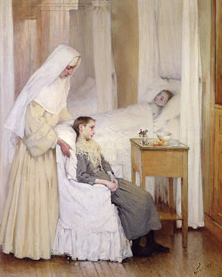 Bed Painting - At Notre-dame Du Perpetuel Bon Secours Hospital by Henri Jules Jean Geoffroy