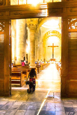 Cathedral Photograph - At Peace In Merida Cathedral by Mark E Tisdale
