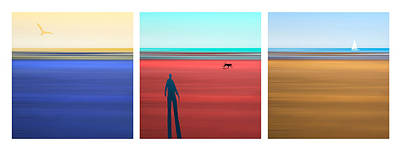 Tryptych Photograph - At The Beach by Mal Bray