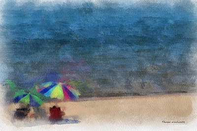 Chaise Digital Art - At The Beach Photo Art 03 by Thomas Woolworth