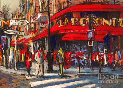 At The Cafe De La Rotonde Paris Print by Mona Edulesco