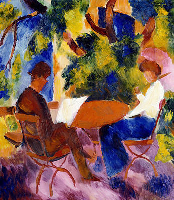 Abstract Garden Painting - At The Garden Table by August Macke