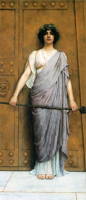 John William Godward Painting - At The Gate Of The Temple by John William Godward