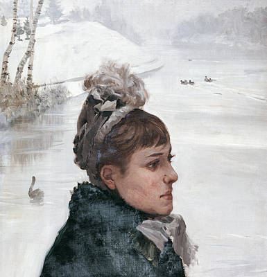 Woman Head Painting - At The Lake by Giuseppe De Nittis