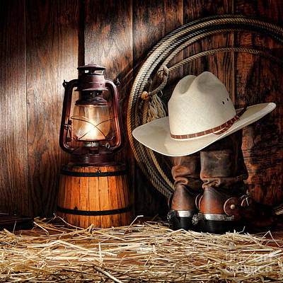 Working Cowboy Photograph - At The Old Ranch by American West Decor By Olivier Le Queinec