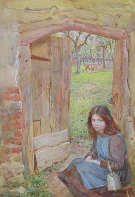 Apple Drawing - At The Orchard Gate, 1903 by Edward Clegg Wilkinson