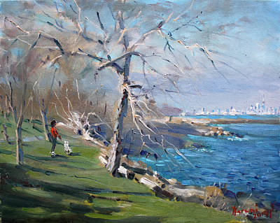 Landscapes Lakes Painting - At The Park By Lake Ontario by Ylli Haruni