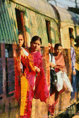 Girl Painting - At The Railway Station Of Mumbai by George Atsametakis