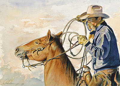Roping Horse Painting - At The Ready by Don Dane