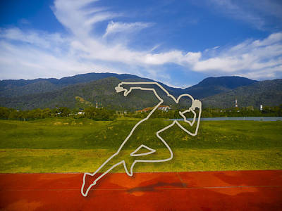 Sprinting Digital Art - At The Running Track by Ym Chin