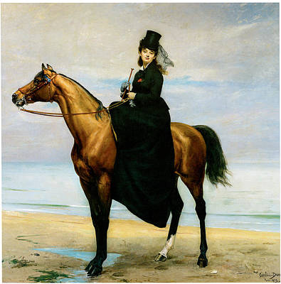 Women On Horses Painting - At The Seaside Sophie Croizette On Horseback by Carolus Duran