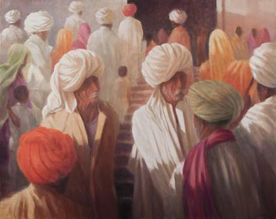 Gathering Photograph - At The Temple Entrance, 2012 Acrylic On Canvas by Lincoln Seligman