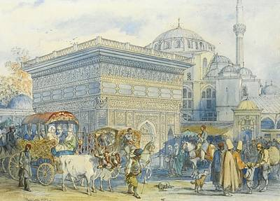 At The Tophane Fountain Print by Amadeo Preziosi