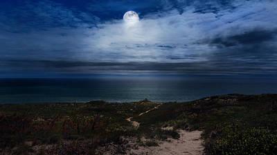 Sea Moon Full Moon Photograph - Atlantic Moon by Bill Wakeley