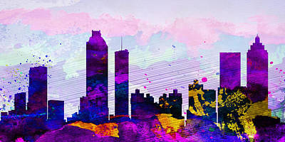 Architectural Painting - Atlanta City Skyline by Naxart Studio