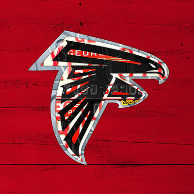 Falcon Mixed Media - Atlanta Falcons Football Team Retro Logo Georgia License Plate Art by Design Turnpike