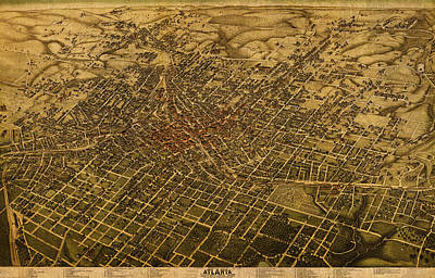 Atlanta Georgia City Schematic Street Map 1892 On Recovered Worn Parchment Paper Print by Design Turnpike