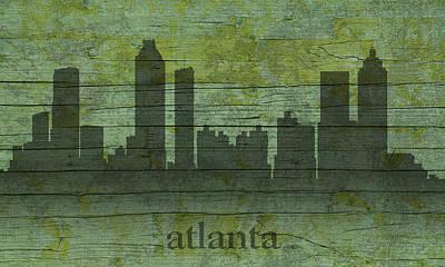 Atlanta Georgia Skyline Silhouette Distressed On Worn Peeling Wood Print by Design Turnpike