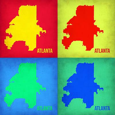 City Map Painting - Atlanta Pop Art Map 1 by Naxart Studio