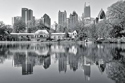 Downtown Area Photograph - Atlanta Reflecting In Black And White by Frozen in Time Fine Art Photography