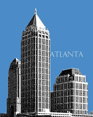 Pen Digital Art - Atlanta Skyline 1 - Slate Blue by DB Artist