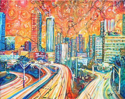 Skyscraper Painting - Atlanta Skyline by Natalie Huggins