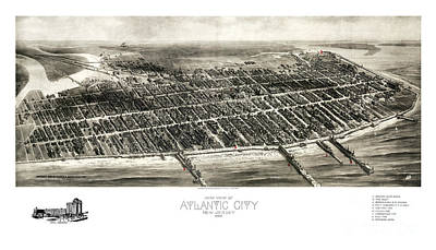 Vintage Map Painting - Atlantic City - New Jersey - 1909 by Pablo Romero