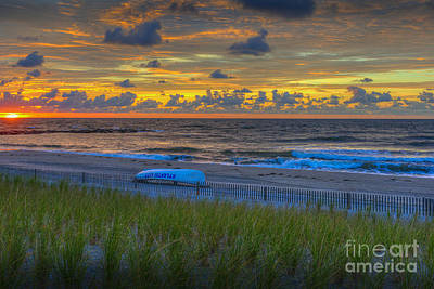 Beach Photograph - Atlantic City Fiery Sunrise by David Zanzinger