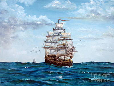 Pirate Ship Painting - Atlantic Crossing  by Lee Piper