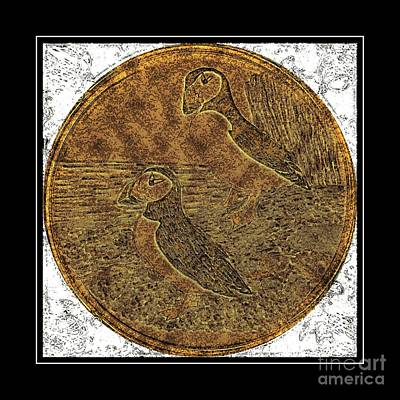 Puffin Digital Art - Atlantic Puffins - Brass Etching by Barbara Griffin