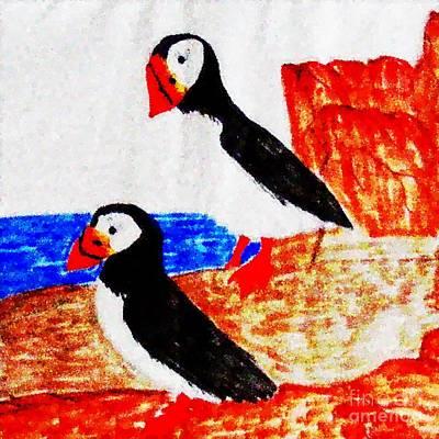Puffin Digital Art - Atlantic Puffins Digital Dots by Barbara Griffin