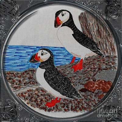 Puffin Drawing - Atlantic Puffins - Porthole Vignette by Barbara Griffin