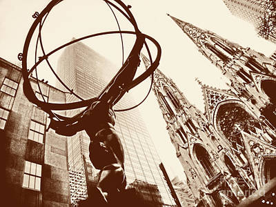 St. Patricks Cathedral Photograph - Atlas Statue And St.patrick's Cathedral In Black And White by Nishanth Gopinathan