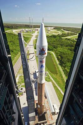 Atlas V Rocket On Launch Pad Print by National Reconnaissance Office