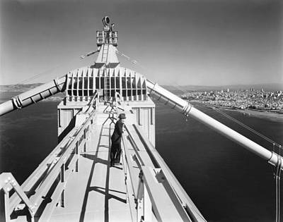 Atop The Golden Gate Bridge Print by Underwood Archives