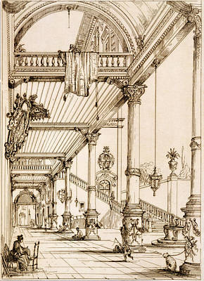 Atrium Of A Palace, In Genes, From Art Print by Jean Francois Albanis de Beaumont