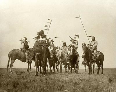 Daylight Photograph - Atsina Warriors On Horseback by Underwood Archives