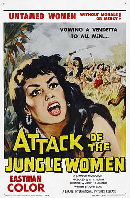 Attack Of The Jungle Women, 1959 Print by Everett