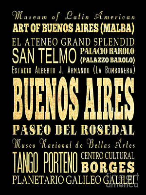 Attraction And Famous Places Of Buenos Aires Argentina Print by Joy House Studio