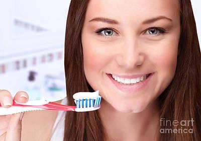 Attractive Female Clean Teeth Print by Anna Omelchenko