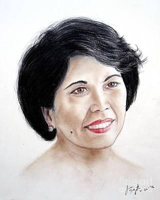 Filipina Drawing - Attractive Filipina Woman With A Facial Mole by Jim Fitzpatrick